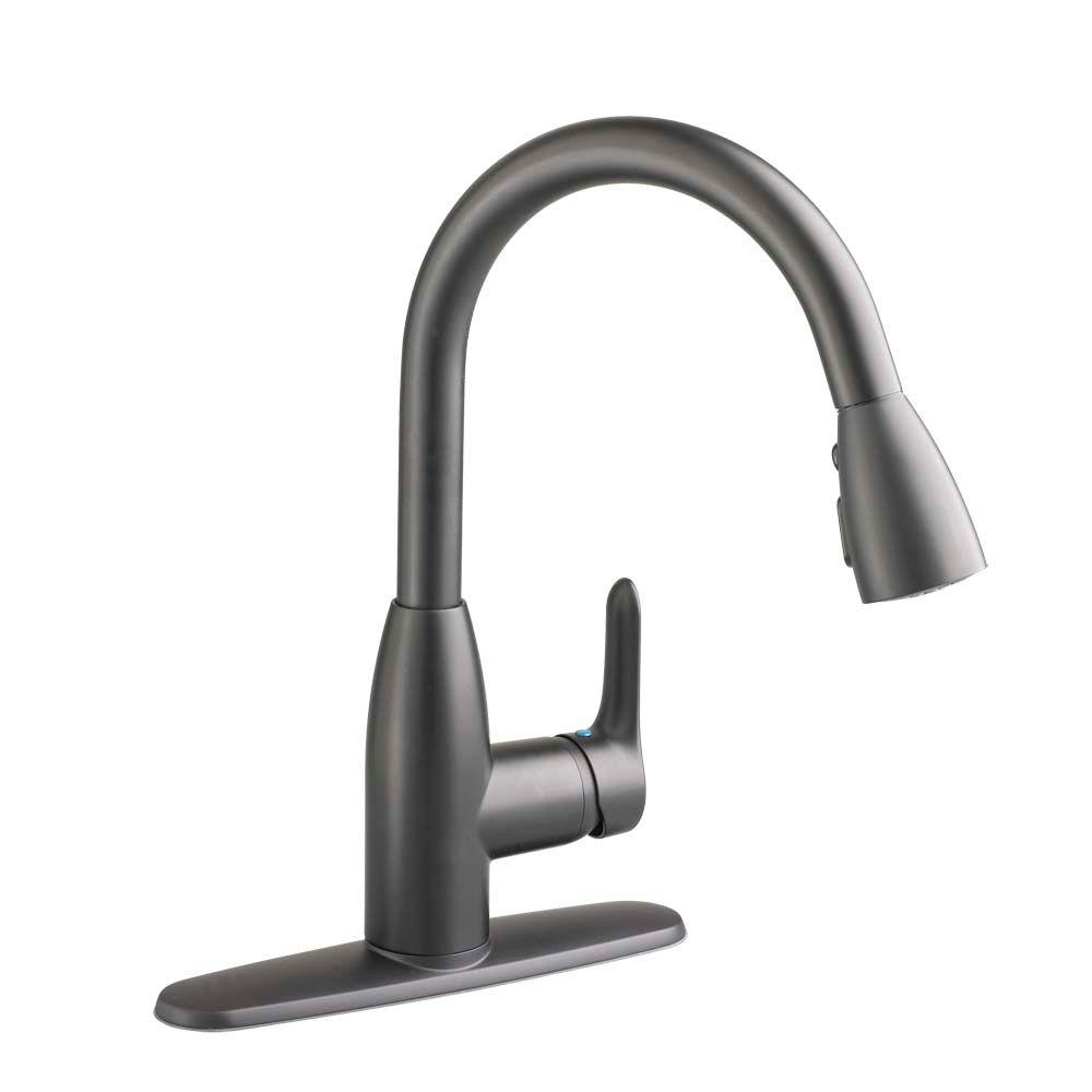 American Standard Colony Soft Single-Handle Pull-Down Sprayer Kitchen Faucet in Matte Black