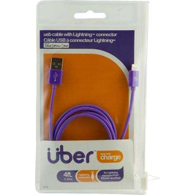 4 ft. USB Lightning Sync Charge Cable - Purple