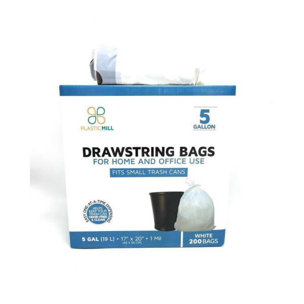 5 Gal. 1 mil 17 in. x 20 in. White Drawstring Bags (200- Count)