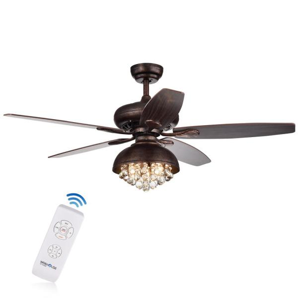 Fredix 52 in. Indoor Bronze Finsh Remote Controlled Ceiling Fan with Light Kit