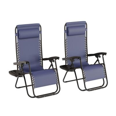Navy Blue Folding Zero Gravity Steel Outdoor Lounge Chairs (2-Pack)
