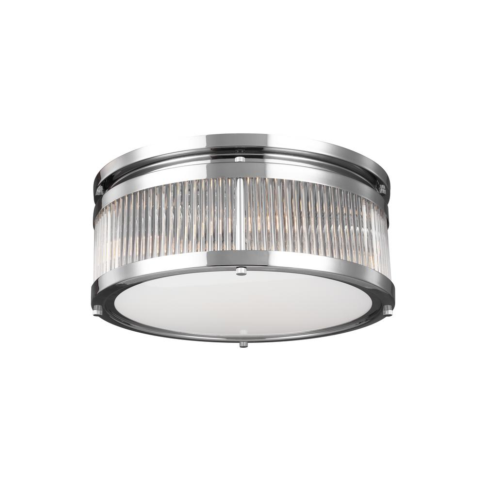 Paulson 3-Light Chrome Flushmount