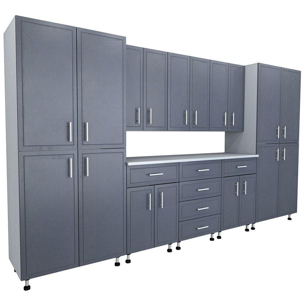 ClosetMaid 80.5 in. x 144 in. x 21 in. ProGarage Premium Storage Systems in  Gray (9-Pieces)