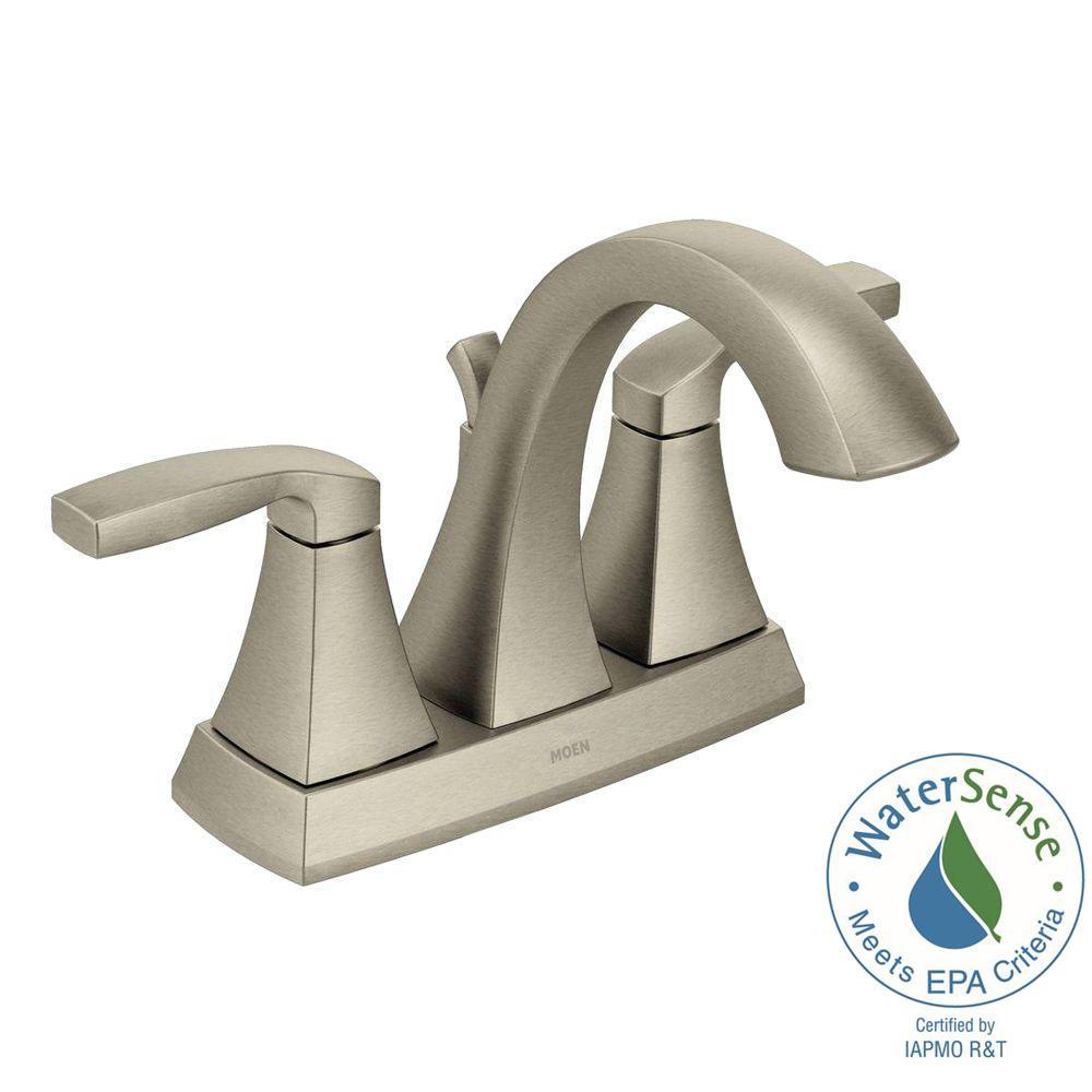 Moen Voss 4 In Centerset 2 Handle Bathroom Faucet In Brushed Nickel