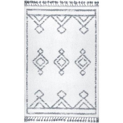 Mackie Moroccan Diamond Shag White 2 ft. x 3 ft. Area Rug
