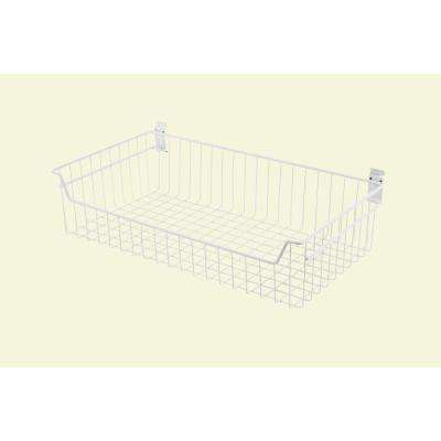 27.4 in. White Steel Extra Large Deep Wire Basket for Wire Shelving