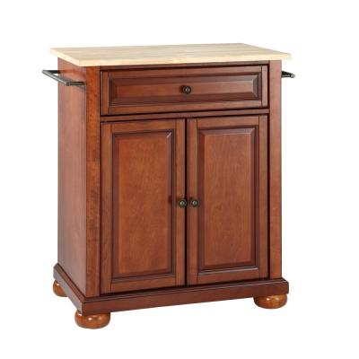 Alexandria Cherry Portable Kitchen Island with Wood Top