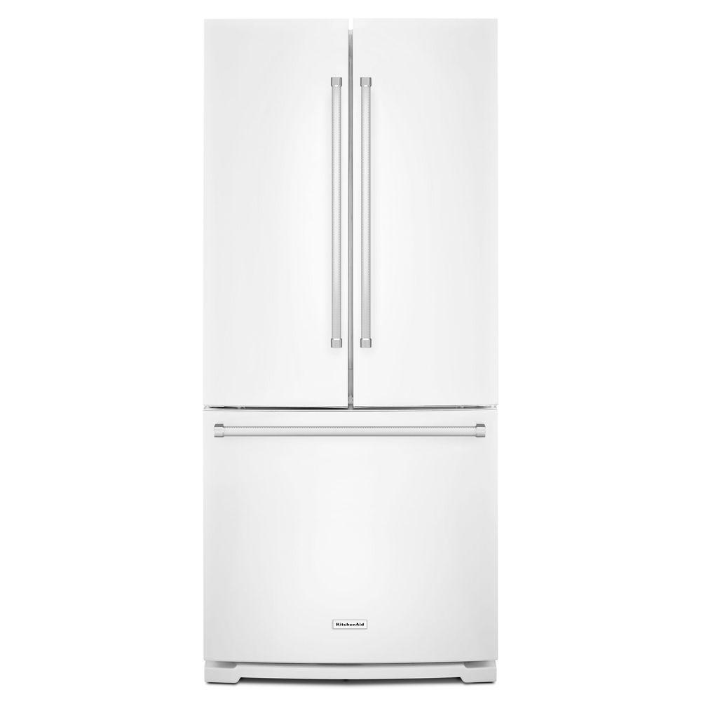 white french door refrigerator. KitchenAid 30 In. W 19.7 Cu. Ft. French Door Refrigerator In White R