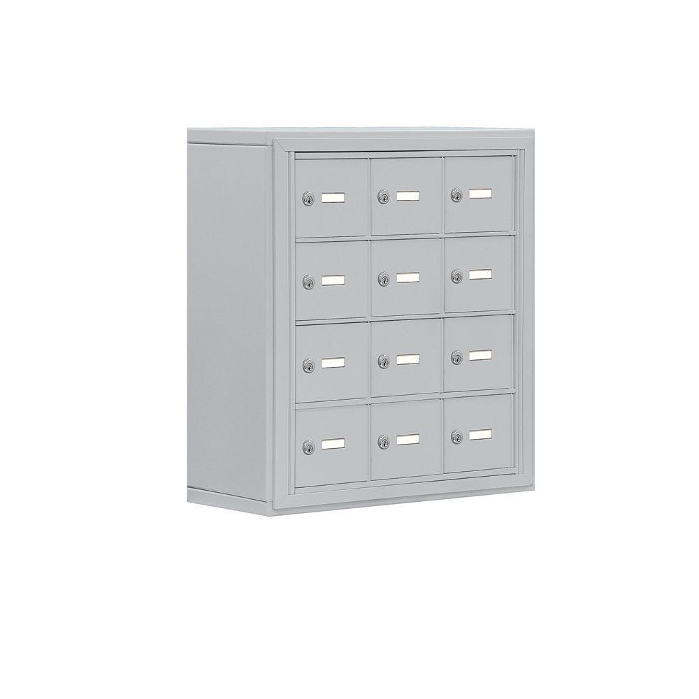 19000 Series 24 in. W x 25.5 in. H x 9.25 in. D 12 A Doors S-Mounted Keyed Locks Cell Phone Locker in Aluminum