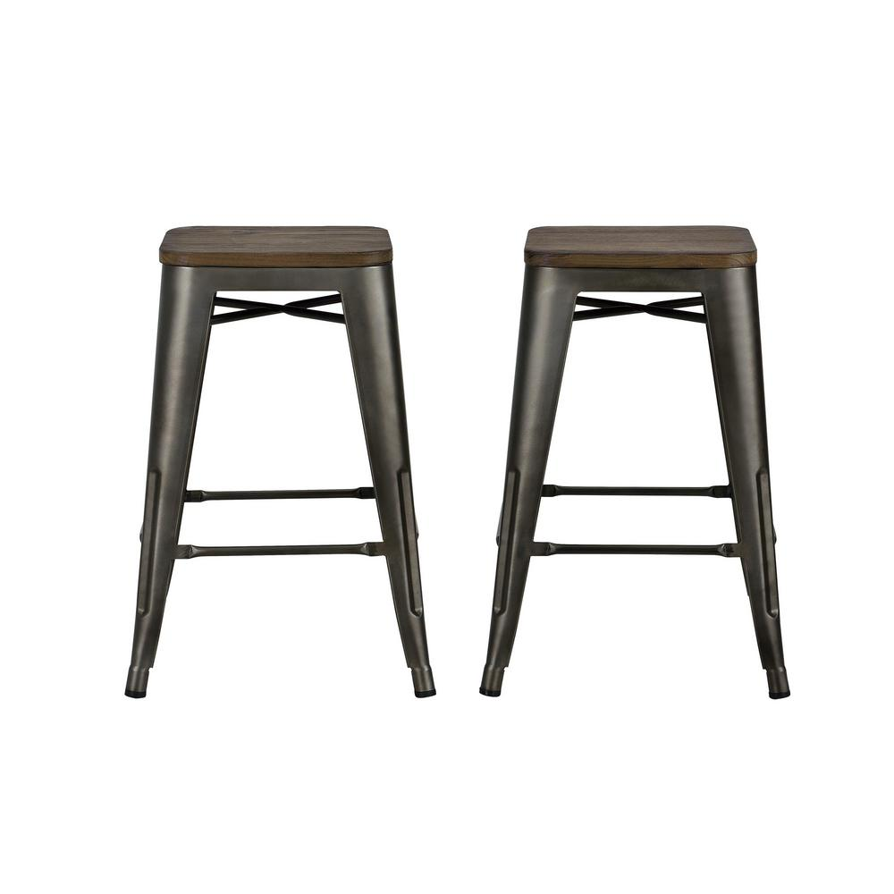 Dhp Penelope 24 In Antique Copper Metal Counter Stool With Wood