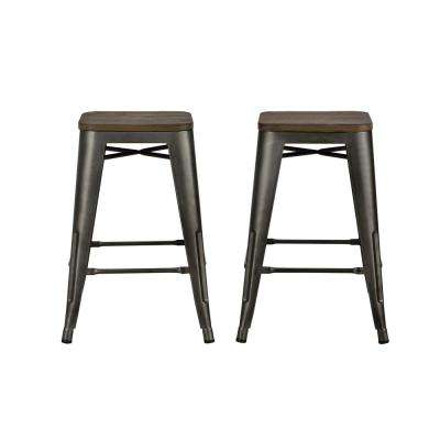 Penelope 24 in. Antique Copper Metal Counter Stool with Wood Seat (Set of 2)