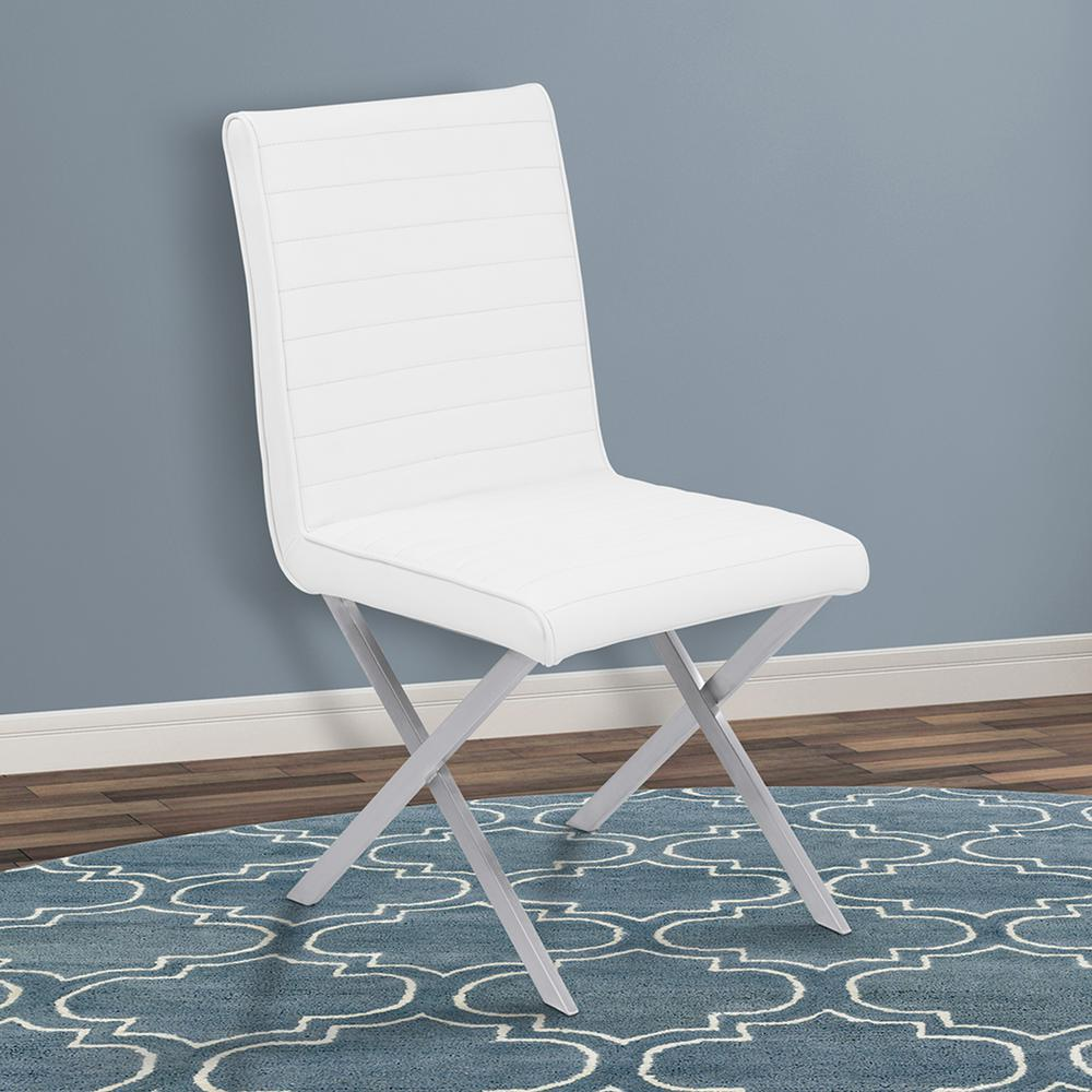 Armen living tempe 36 in white faux leather and brushed for Leather and steel dining chairs