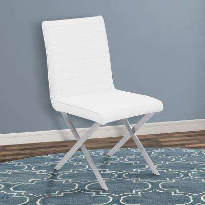 Tempe 36 in. White Faux Leather and Brushed Stainless Steel Finish Dining Chair (Set of 2)