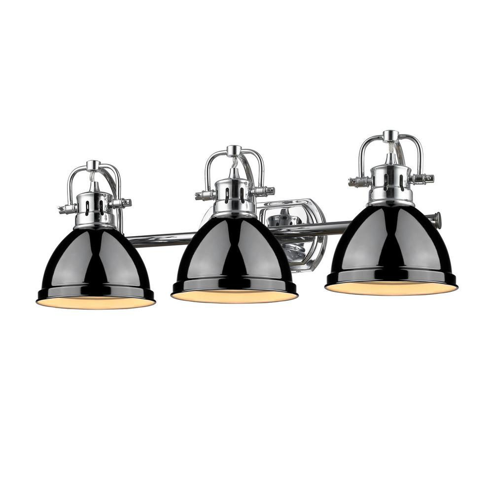 Duncan 3-Light Chrome Bath Light with Black Shade