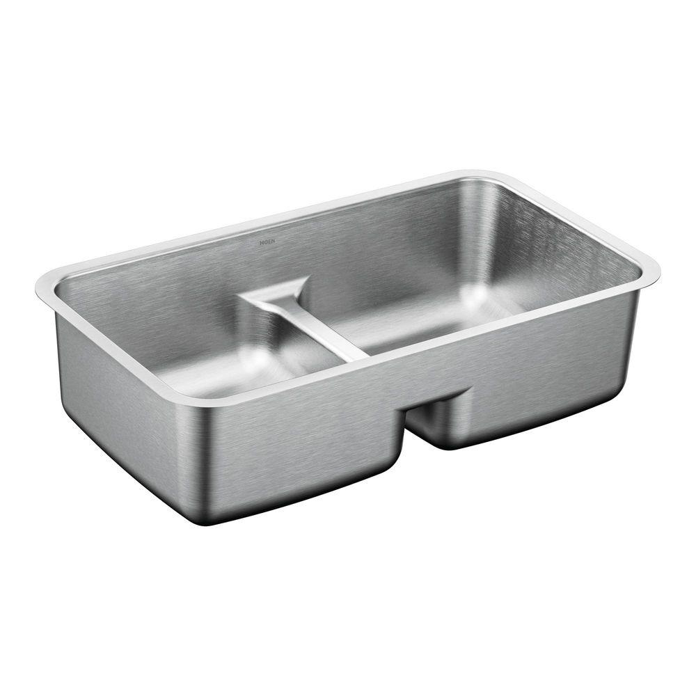 Moen 1800 Series Undermount Stainless Steel 32 5 In Double Basin Sink G18252 The Home Depot
