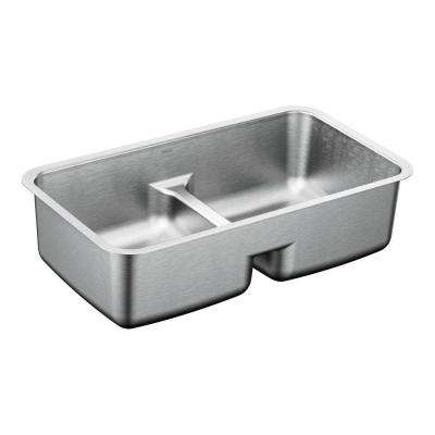 1800 Series Undermount Stainless Steel 32.5 in. Double Basin Sink