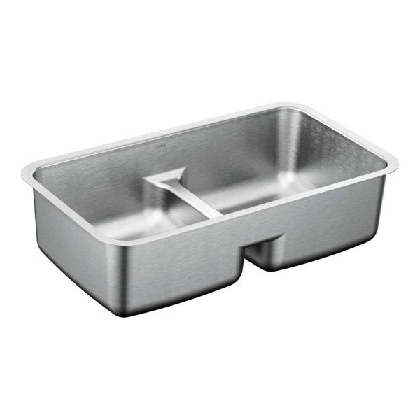 MOEN 1800 Series Undermount Stainless Steel 32.5 in. Double Basin Sink