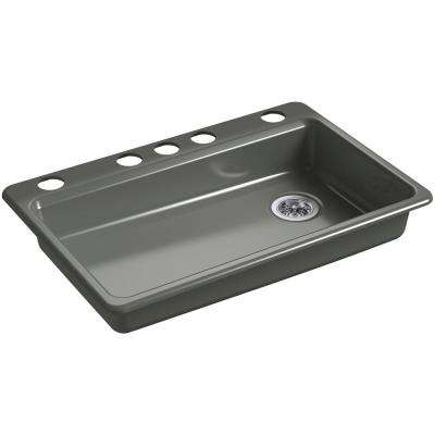 Riverby Undermount Cast Iron 33 in. 5-Hole Single Bowl Kitchen Sink in Thunder Grey