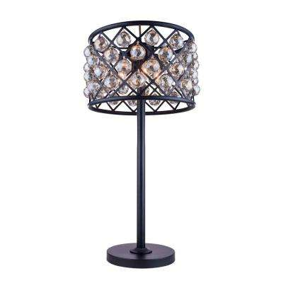 Madison 32 in. Mocha Brown Table Lamp with Golden Teak Smoky Crystal