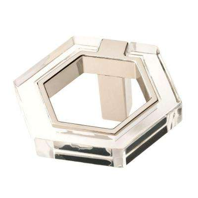 1-7/8 in. (48mm) Polished Nickel and Clear Acrylic Hexagon Cabinet Knob
