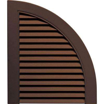 15 in. x 17 in. Louvered Design Federal Brown Quarter Round Tops Pair #009