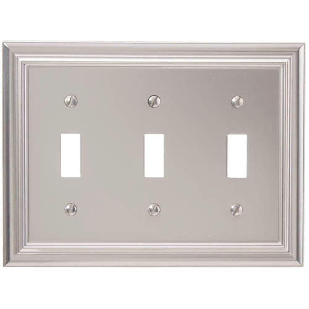 amerelle continental 3 toggle wall plate satin nickel