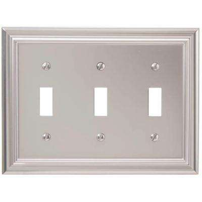 Continental 3 Toggle Wall Plate - Satin Nickel