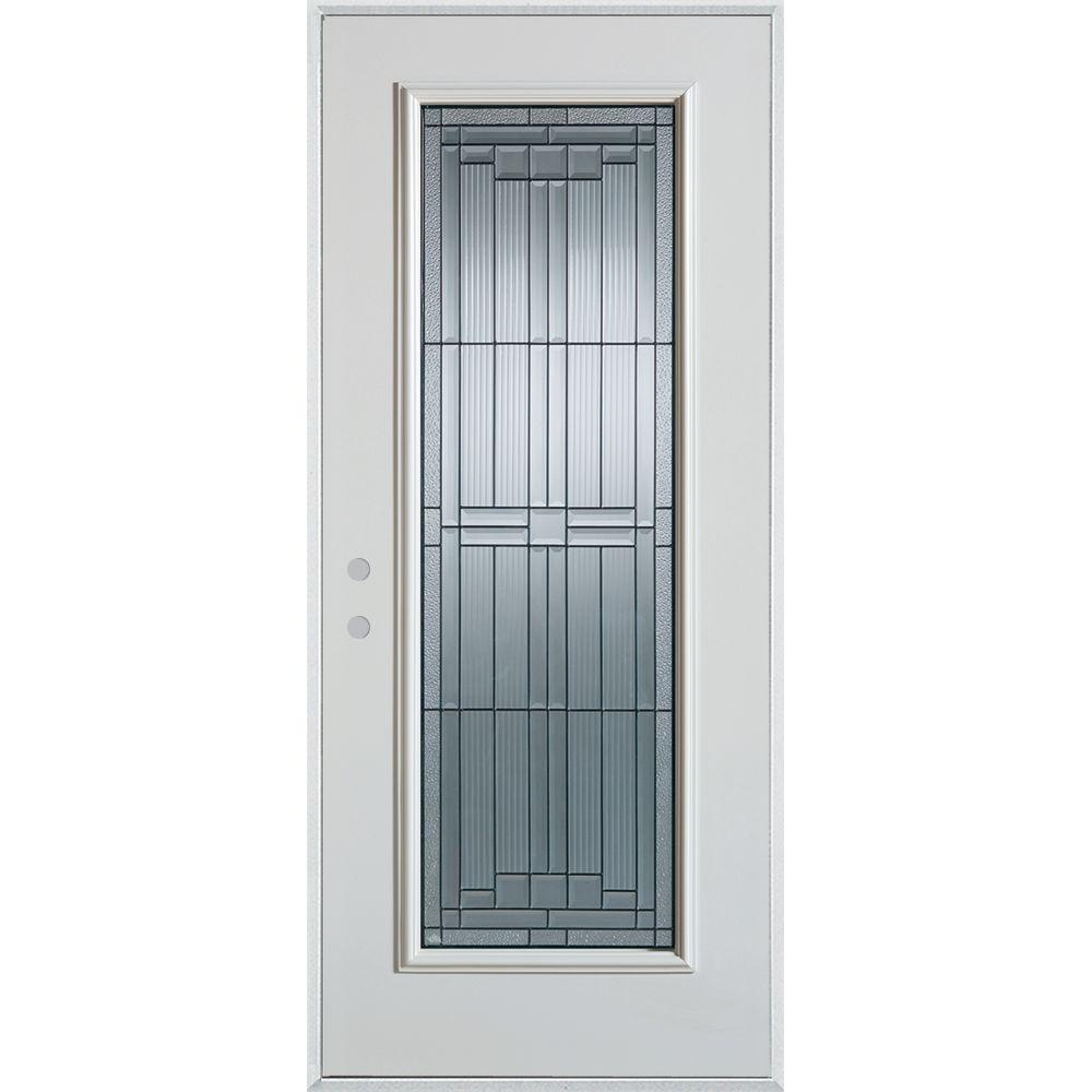 37.375 in. x 82.375 in. Architectural Full Lite Painted White Steel