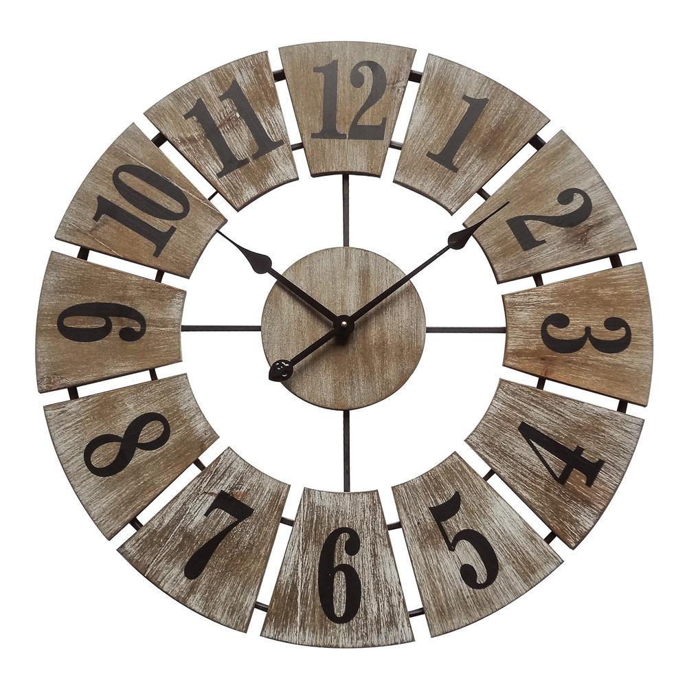 Rustic Charm White Washed Wood Og Wall Clock