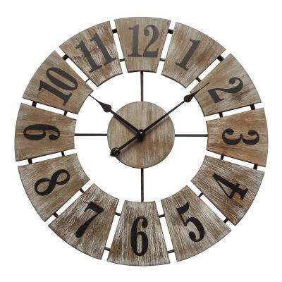 Rustic Charm White Washed Wood Analog Wall Clock