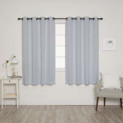 63 in. L Onyx Grommet Blackout Curtains in Vapor (2-Pack)