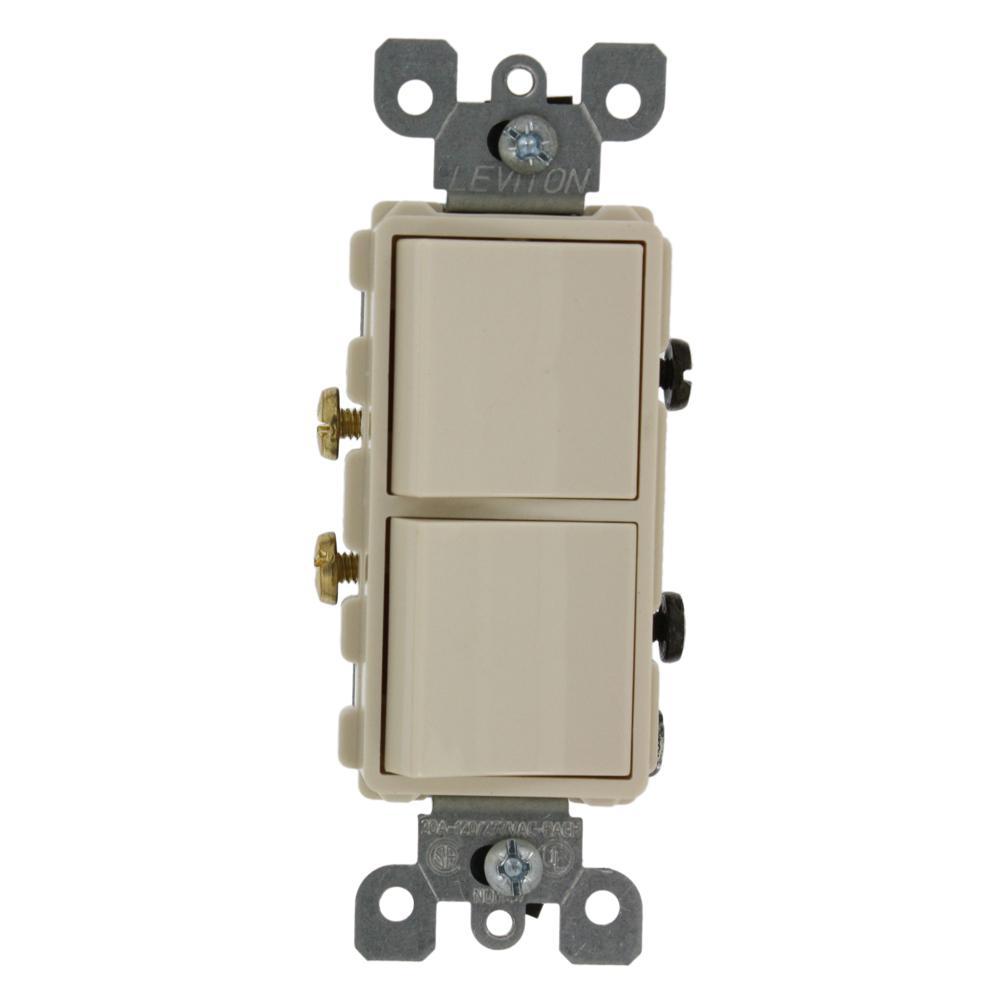 Leviton 20 Amp Decora Commercial Grade Combination Two Single Pole Rocker Switches, Light Almond