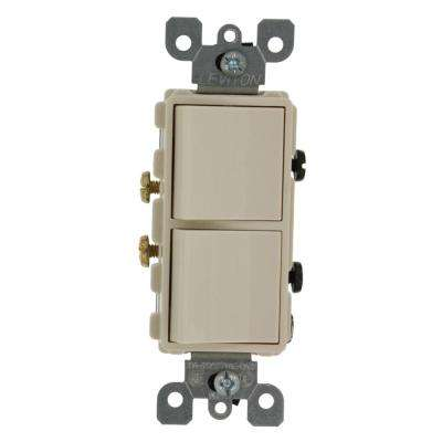 20 Amp Decora Commercial Grade Combination Two Single Pole Rocker Switches, Light Almond