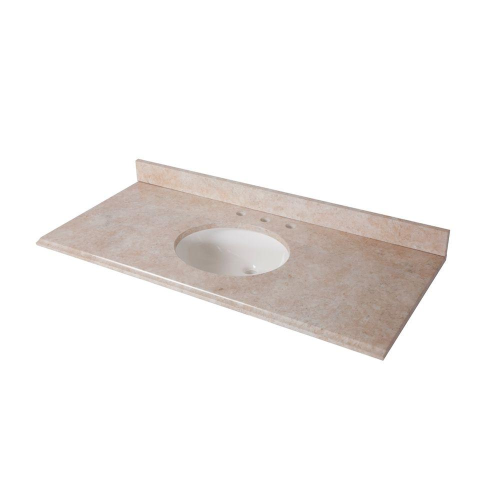 St. Paul 49 in. x 22 in. Stone Effects Vanity Top in Oasis with White Bowl-DISCONTINUED