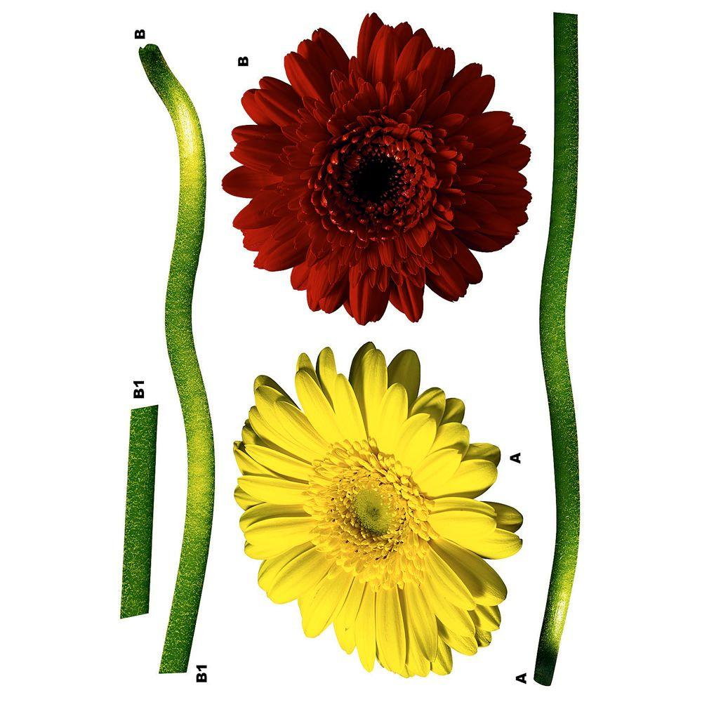 Freestyle 19 in. x 27 in. Gerbera Daisy Wall Decal, Mult-...