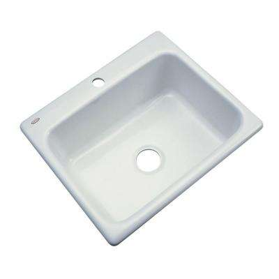 Inverness Drop-In Acrylic 25 in. 1-Hole Single Basin Kitchen Sink in Ice Grey