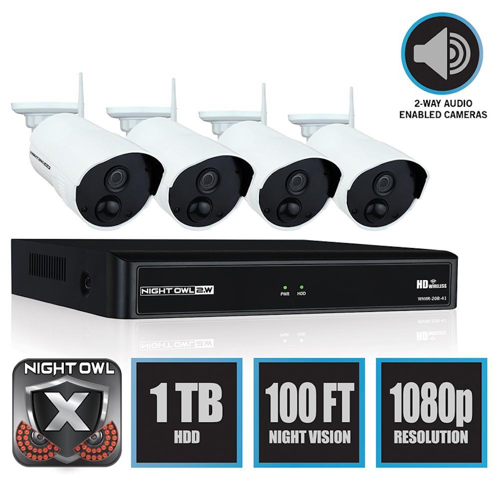 Wireless 4-Channel NVR 4 AC Powered 1080p 1TB Hard Drive PIR Cameras Surveillance System