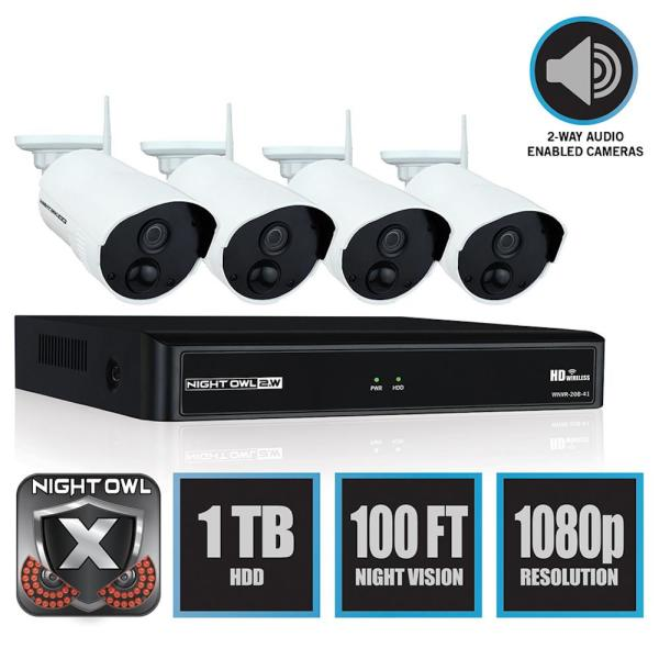 Wireless 4-Channel NVR 4 AC Powered 1080p 1TB Hard Drive PIR Cameras Surveillance System