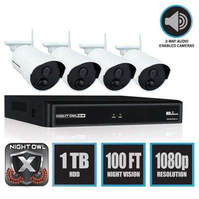 Wireless 4-Channel NVR with 4 AC Powered 1080p Wireless PIR cameras and 1 TB HDD