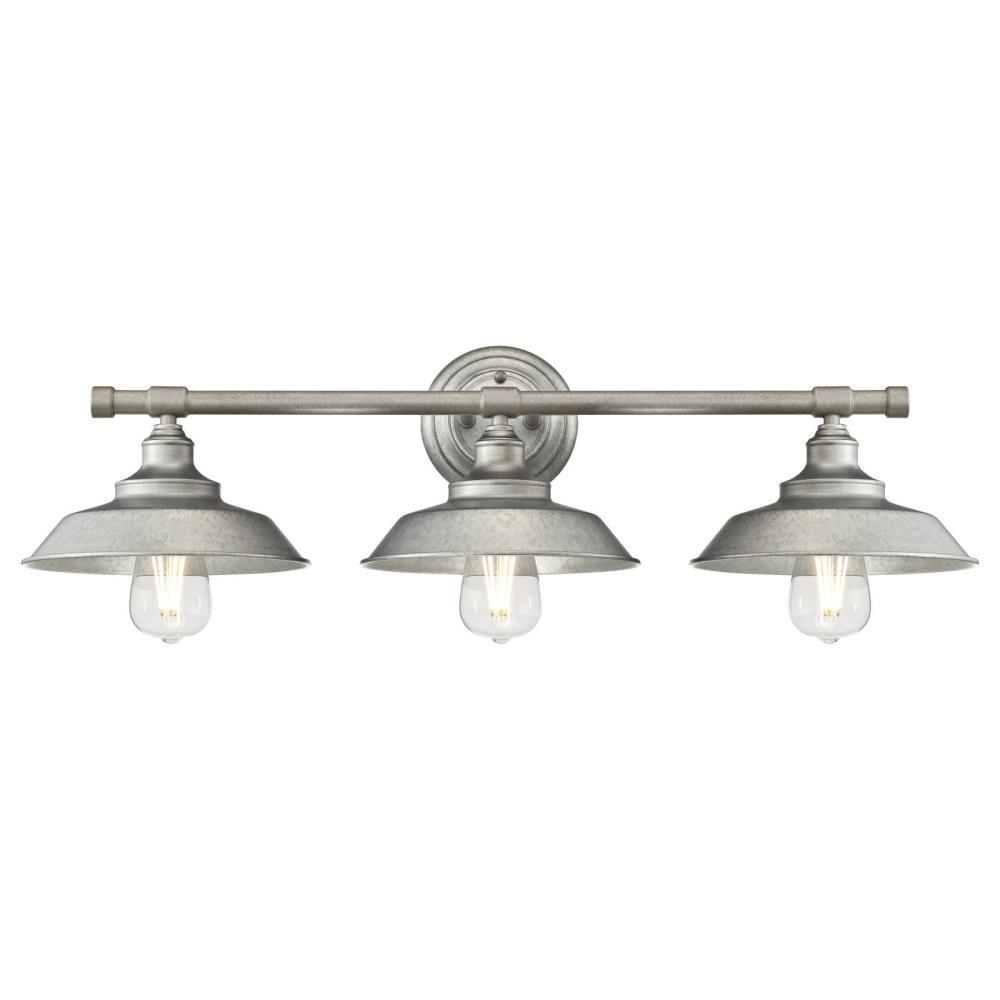 Westinghouse Iron Hill 3 Light Galvanized Steel Wall Mount Bath