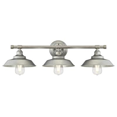 Iron Hill 3-Light Galvanized Steel Wall Mount Bath Light