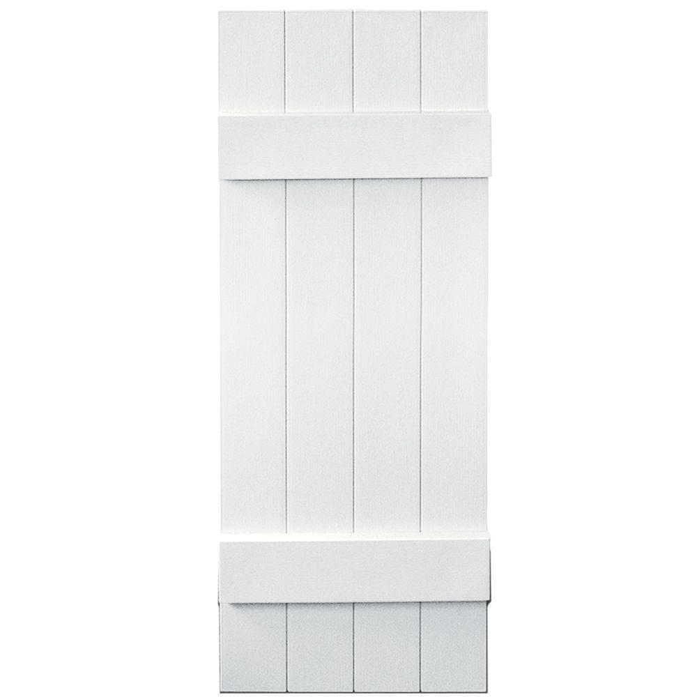 14 in. x 39 in. Board-N-Batten Shutters Pair, 4 Boards Joined