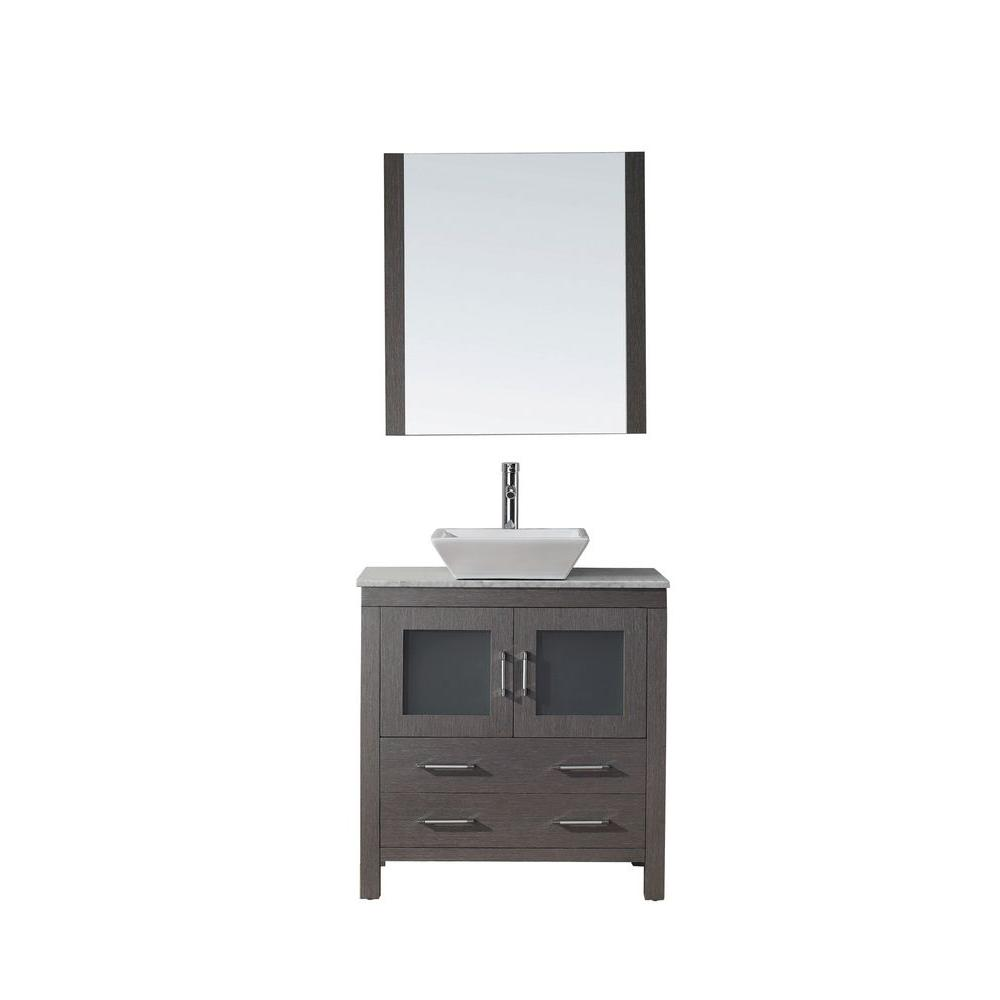 Virtu USA Dior 32 in. Double Vanity in Grey Oak with Marble Vanity Top in White and Mirror