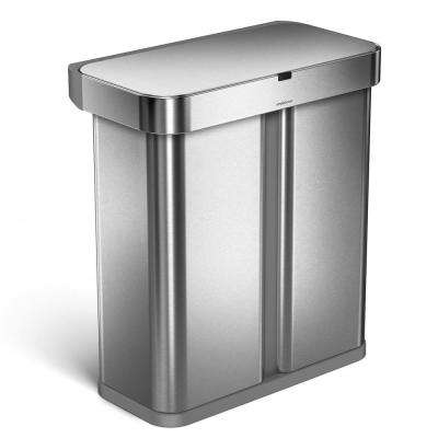 15.3 Gal. Brushed Stainless Steel Dual Compartment Rectangular Sensor Recycling Trash Can with Voice/Motion Control