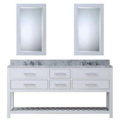 72 in. W x 21.5 in. D Vanity in White with Marble Vanity Top in Carrara White, 2 Mirrors and Chrome Faucets