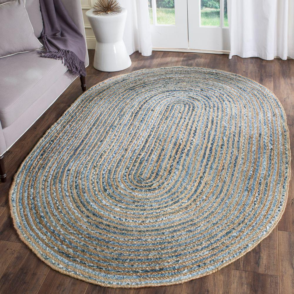 Safavieh Cape Cod Natural/Blue 4 Ft. X 6 Ft. Oval Area Rug