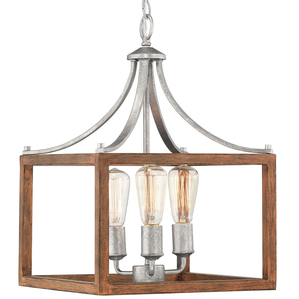 Home Decorators Collection Boswell Quarter Collection 3-Light Galvanized Pendant with Painted Chestnut Wood Accents