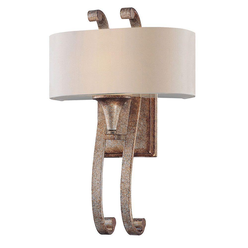 Illumine 1-Light Gold Dust Sconce with Off-White Shade