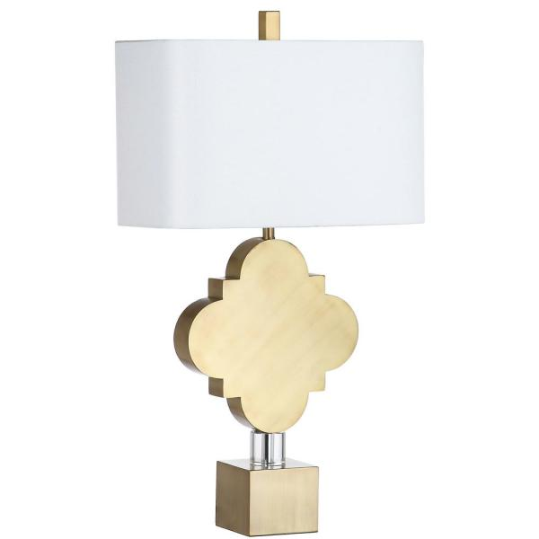 Marina Trellis 31.5 in. Gold Quadrefoil Table Lamp with White Shade