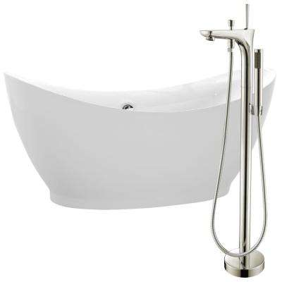 Reginald 68 in. Acrylic Flatbottom Non-Whirlpool Bathtub in White with Kase Faucet in Brushed Nickel